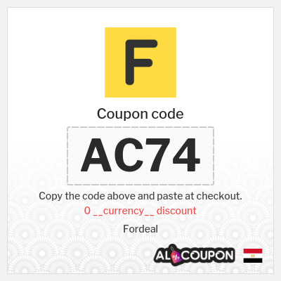 Fordeal coupon code | 41.8 Egyptian pound OFF orders between 418 - 831.8 Egyptian pound