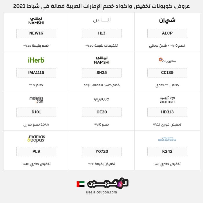 جميع كوبونات وعروض متاجر الإمارات العربية
