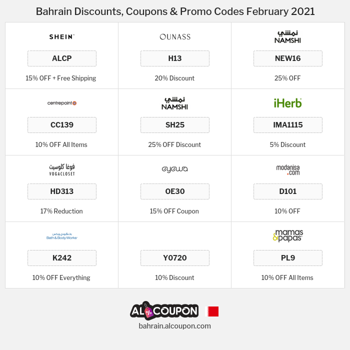 All Coupons and deals for Bahrain stores