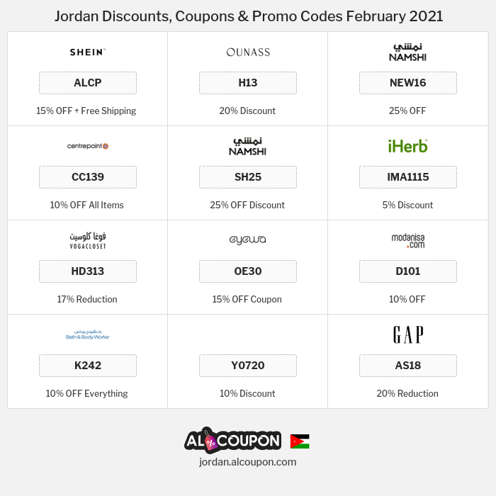 All Coupons and deals for Jordan stores